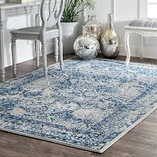 nuloom vintage transitional fl area rug in light blue grey