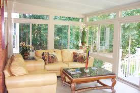 white indoor sunroom furniture. Indoor Sunroom With Light Yellow Living Room Furniture Artistic Pots Decorations And Pretty Flowers Ornaments Red White U