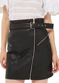 top belted zip leather skirt