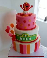 Cute Baby Elmo 3 Tier First Birthday Cake