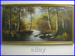 Original Art On Canvas » Oil Painting on Canvas by Wendy Reeves Original  Forest & River Stream Scene