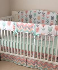 princess baby crib lovely peach gray and mint arrows crib bedding by erbeansboutique