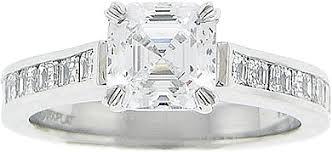 Precision Set Channel Set Asscher Cut Diamond Engagement Ring 60ct