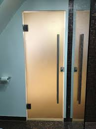 bronze glass sandblasted shower door