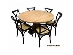 utah dia 135cm mango wood round dining table 5 black cross back dining chairs