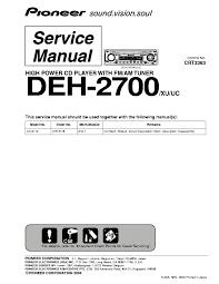 pioneer deh 2700 service manual schematics eeprom pioneer deh 2700 service manual 1st page