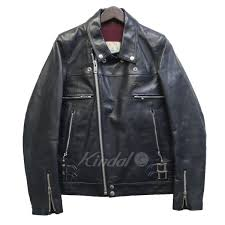 under cover 17ss basic double riders cow leather double riders jacket navy size 0 under cover