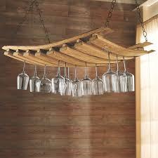 wine glass rack barrel stave hanging stemware enthusiast