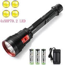 Süper parlak 4 x XHP70.2 dalış el feneri IPX8 tüplü ışıklar 200M sualtı LED  dalgıç lamba su altında spor|LED Flashlights