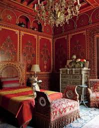 Red Bedroom Bench Moroccan Themed Bedroom With Red Detailed Walls And Chandelier And