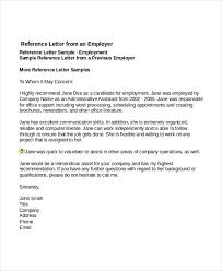Example Of Reference Letters For Employment