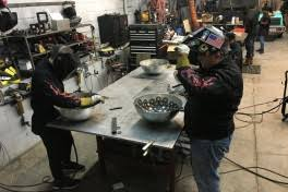 metal shop class. steel bowl making class. metal shop fantasy camp class d