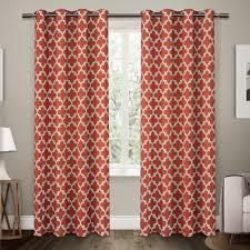 neptune mecca orange cotton grommet top window curtain