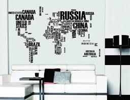 Word World Map Vinyl Wall Sticker