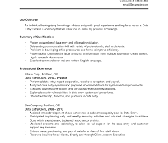 Ideas Of Resume Sample For Data Entry Operator And Clerk Free