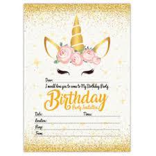 Kids Invitations Unicorn Invitations Gold Theme Birthday Party Invites Kids