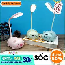 Đèn học để bàn chống cận-đèn học mini-Đèn bàn học bài hình mèo dễ thương -  Đèn LED để bàn hình thú dễ thương sạc pin tiện lợi, đồ dùng học tập,