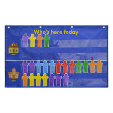 Whos Here Today Chart Attendance Pocket Chart Pocket Chart For Classroom Blue
