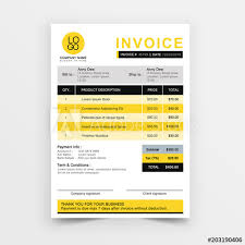 Quotation On Design Invoice Template Vector Design Yellow Minimal Quotation Design