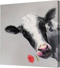 b the cow art canvas 32 in