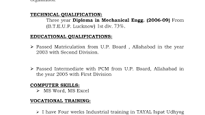 Cover Letter Lovely Sample Resume Format Diploma Mechanical