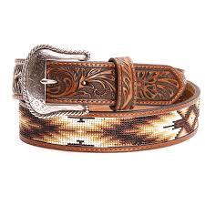nocona mens tooled beaded leather belts brown mens belts accessories men s