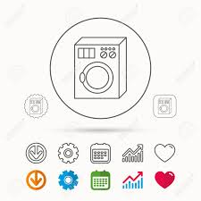 Washing Machine Icon Washer Sign Calendar Graph Chart And