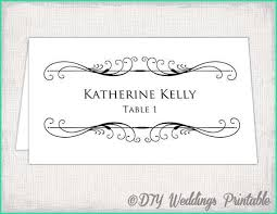 Easy Wedding Place Cards Template For Microsoft Word Of Printable