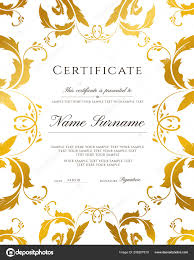 Certificate Of Appreciation Text Gold Border Template Certificate Template Gold Border