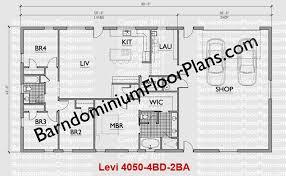 40 foot wide barndominium floor plan 4 bedroom 2 bath levi