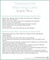 interviewing a babysitter questions to ask printable to college interview questions