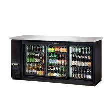 sliding glass door back bar refrigerator with led lighting back bars