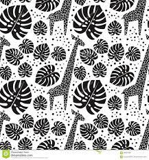 Zwart Wit Giraffen En Palmbladen Naadloos Patroon Vector Illustratie