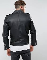 reclaimed vintage inspired leather biker jacket in black b42c7 for men