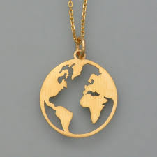 globe on chain in gold plated silver