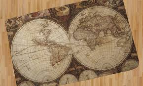 vintage world map area rug 4 x5 youcustomizeit inside and