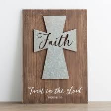 faith wood metal cross wall art