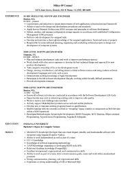 018 Mid Level Software Engineer Resume Sample Engineering Template