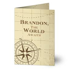 Personalized Graduation Greeting Card Compass Inspired