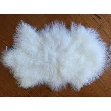 20 x35 genuine mongolian tibetan lambskin fur wool rug pelt plate bleach white approx