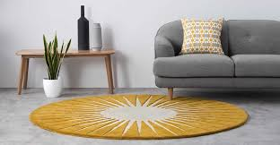 image of round yellow contemporary rug