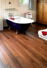wonderful bathroom with natural feel features cool deep blue freestanding bathtub and modern wood