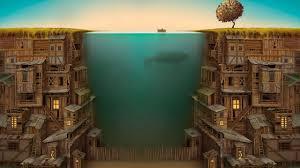 Creative Design House Wallpaper Creative Design House Underwater Boat Fence