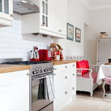 scandi style furniture. Modern White Kitchen With Red Accessories Scandi Style Furniture