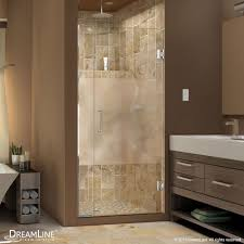 dreamline unidoor 28 inch x 72 inch frameless hinged pivot shower door with half frosted glass in oil rubbed bronze with handle the home depot canada