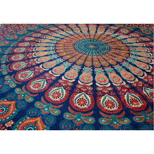 Tapestry Bedroom Blue Maroon Hippie Mandala Tapestry