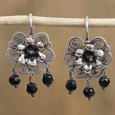 sterling silver filigree chandlier earrings ornate blooms in black black bead and
