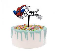 Spidy Happy Birthday Acrylic Cake Topper Black Lollipop Cake