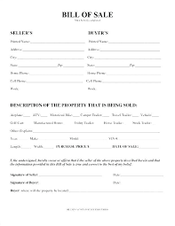 Blank Vehicle Bill Of Sale Template Automobile Bill Of Sale