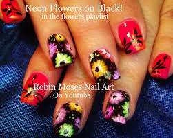 Bright Flower Nail Art Design Tutorial Neon Flowers Up For Friday Neon Flower Nails Nail